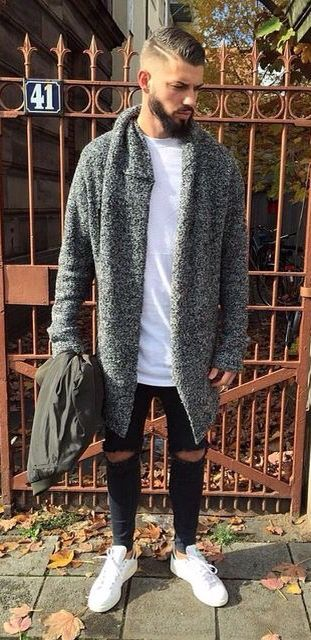 Deconstructed Knit Tweed Sweater Coat, Urban Street Style, Mens Fall Winter Fashion.