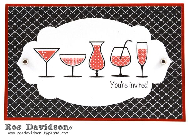 Hen's party invite #hensparty #happyhour #stampinup #MDS #rosdavidson #hybrid #invitation