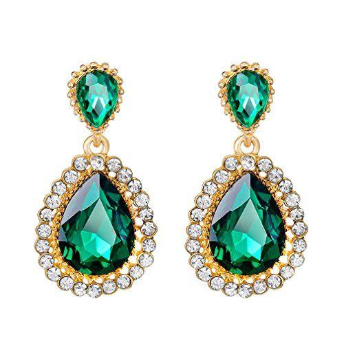 Big Bijoux En Pierre Cristal Vert Fleur Dangle Drop pour Femmes Boucles D/'oreilles