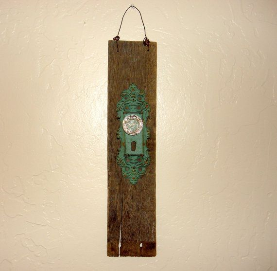 Barn Board with Crystal Knob Wall Decor by DeborahKs on Etsy, $10.00