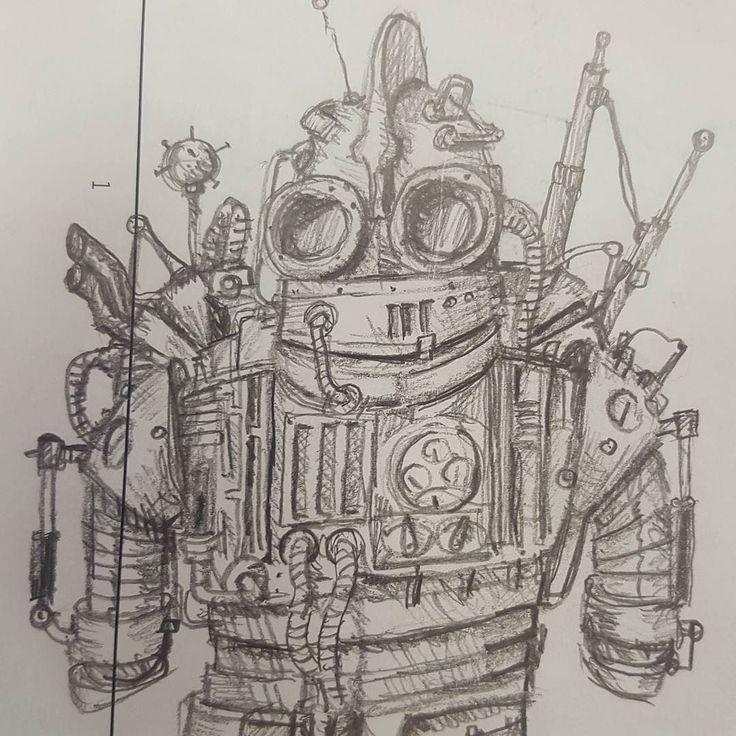 Pencil busy sketch #pencil #sketch #scribble #justforfun #drawing #robot #robots #dibujo #boceto #lapiz #mariasketchbook #comic by pablovilla