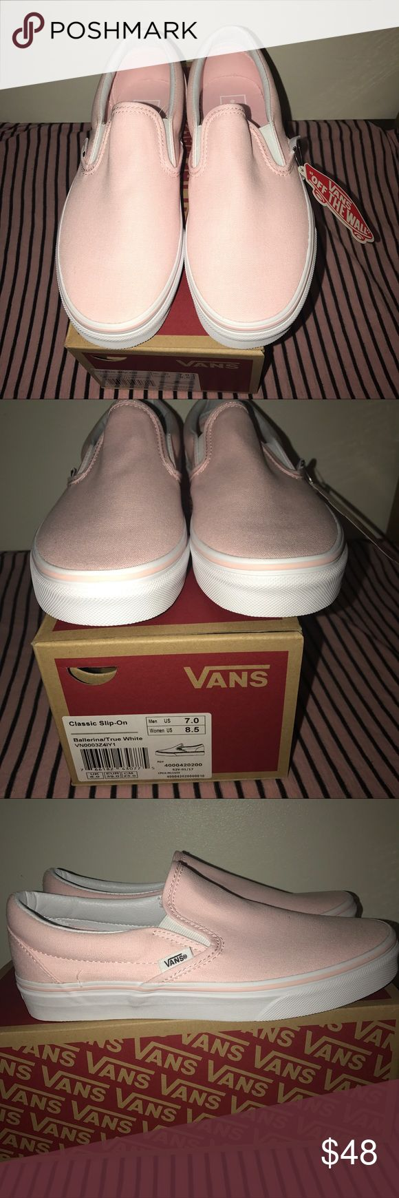 BNWT Ballerina Pink Slip-On Vans Brand new with tags! Never worn before! Beautiful blush colored slip on's, perfect for spring! Super comfortable and highly sough after. Men's size 7.0 which is equal to a women's 8.5. Comes with original box. UPDATE: Sold on Merc! Vans Shoes Sneakers
