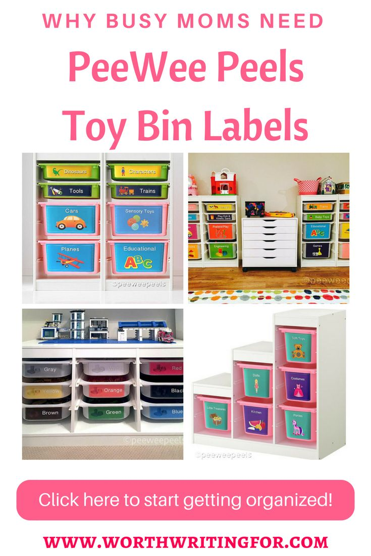 Need a better way to organize your kids' toys? PeeWee Peels are toy bin labels perfectly designed to help busy moms teach their kids to keep toys organized and put away! | toy bin labels | PeeWee Peels | toy organization | organize toys | toy storage | playroom decor | daycare decor | kid's room decor | kid's room storage |