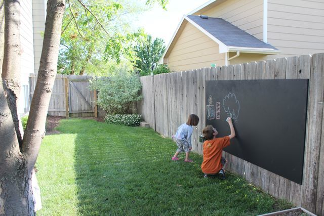 Outdoor Chalkboard - MDO plywood -Medium Density Overlay - it's a weather-resistant plywood that has a smooth surface.  One coat of primer (front & back) and three coats of chalkboard paint on the front. Mount to the fence with 6 screws - three on the right and three on the left.