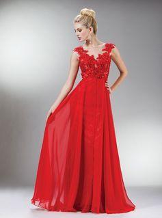 Vestido vermelho longo de formatura com alças