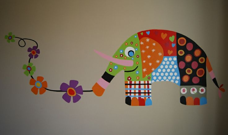 Muurschildering decoratieve olifant in verschillende kleuren