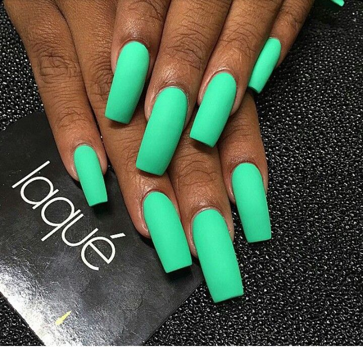 Matte Neon Green Square Tip Acrylic Nails