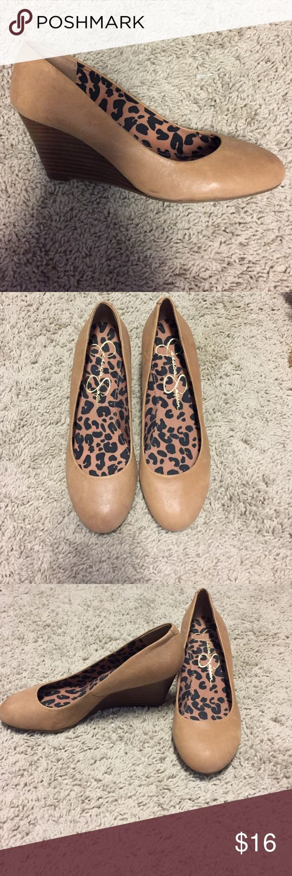 Wedge shoes Tan Jessica Simpson wedge. Only work one time. Very comfortable. Jessica Simpson Shoes Wedges