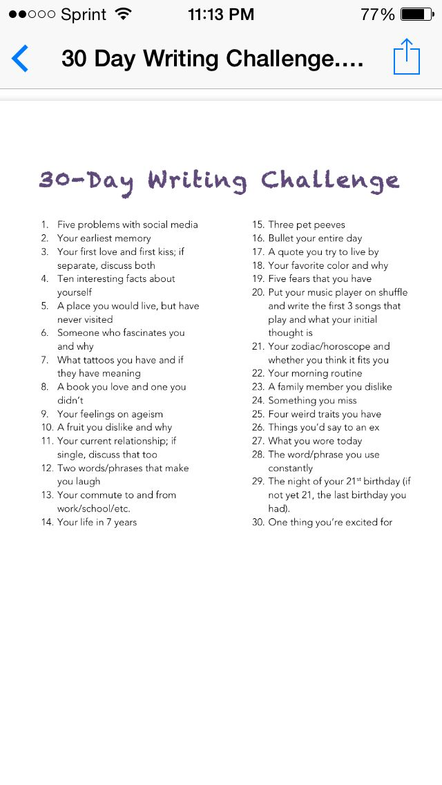 30 Day Writing Challenge Something I would definitely do an recommend for writers just starting out.