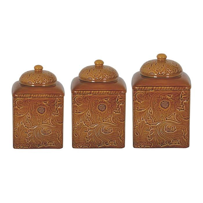 Mustard Western Canister Set Western Kitchen And Dining Decor