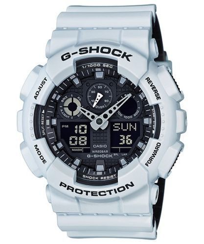 Casio G-Shock Mens GA100L-7A White & Black Analog Digital Chronograph Watch