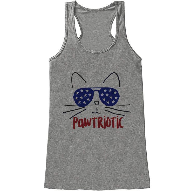 Women's 4th of July Shirt - Pawtriotic Grey Tank Top - Funny Cat Pawtriot 4th of July Shirt - American Pride Tank - Funny Patriotic Tank Top