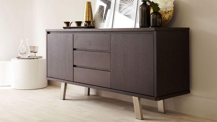 Modern Dark Wood Sideboard with Storage