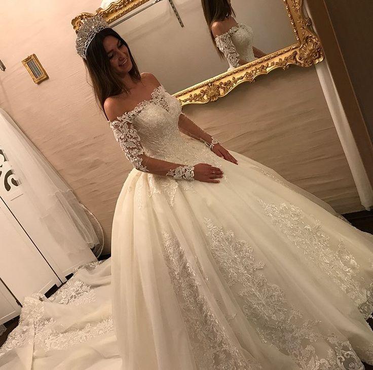 Luxury Brautkleider Spitze Mit Lange Ärmel Prinzessin Hochzeitskleider Günstig… – Hochzeitskleider