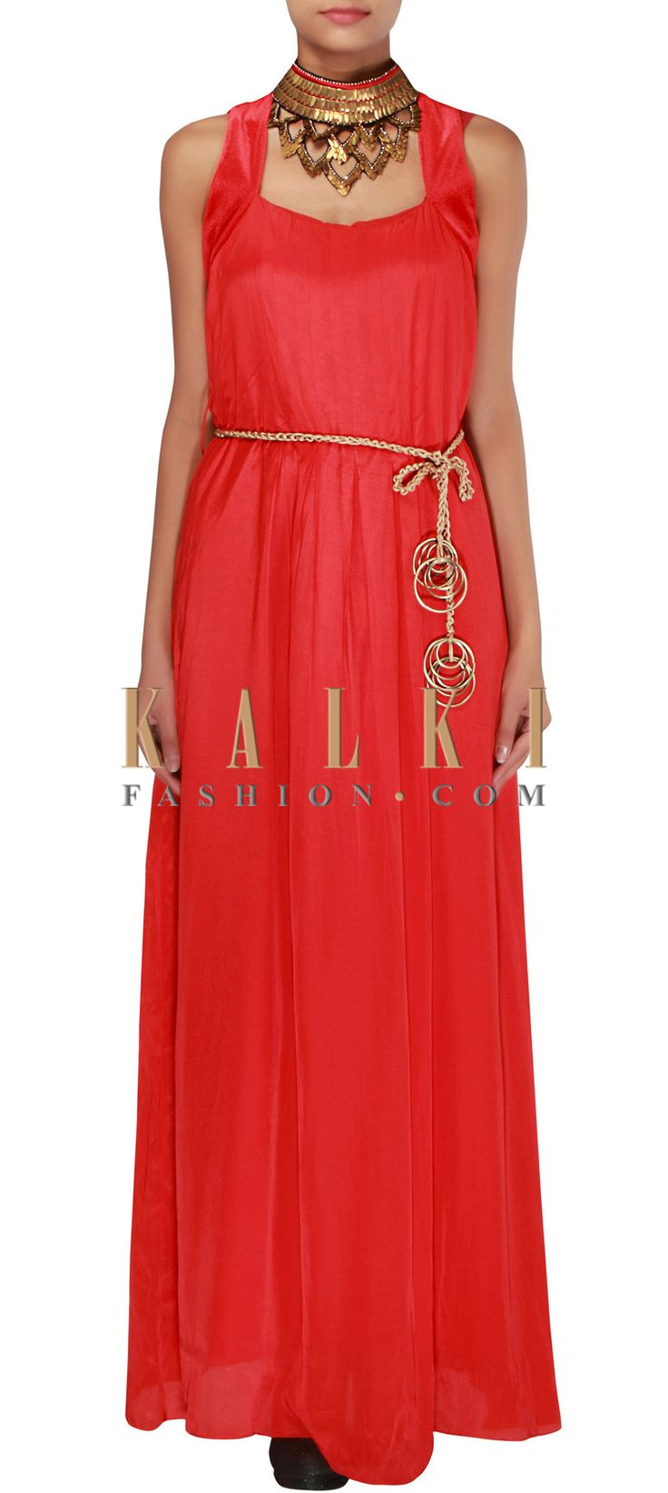 Buy Online from the link below. We ship worldwide (Free Shipping over US$100) http://www.kalkifashion.com/scarlet-red-kurti-embellished-in-antique-metal-only-on-kalki.html