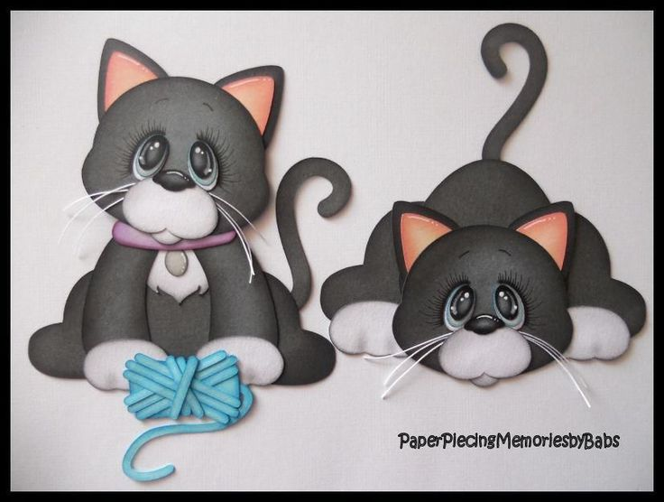 Premade Paper Pieced Kitten Set for Scrapbook Pages-by Babs