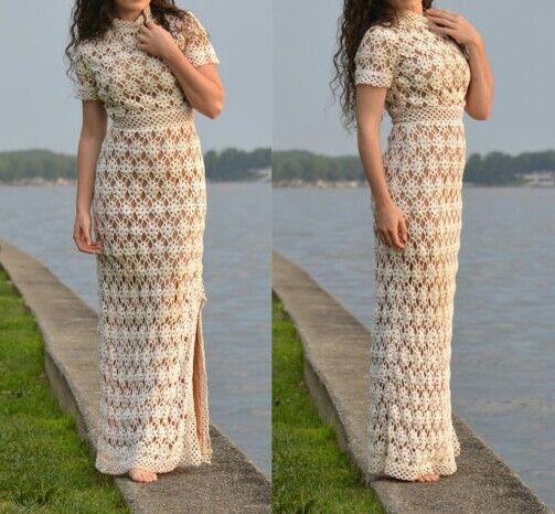 Made to order hand-made crochet wedding dress