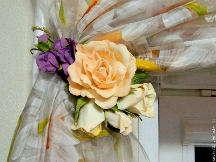 Купить Подхват для штор Роза - подхват для штор, роза, фиолетовый, цветы в интерьере, украшение для дома