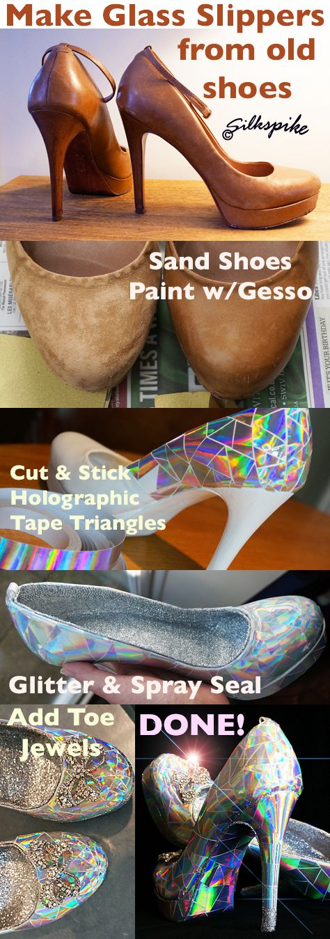Silkspike Dolls Picture Tutorial - Making Cinderella's glass slippers for a Panto stage prop - inspired by a You Tube video by Mark Montano. Más