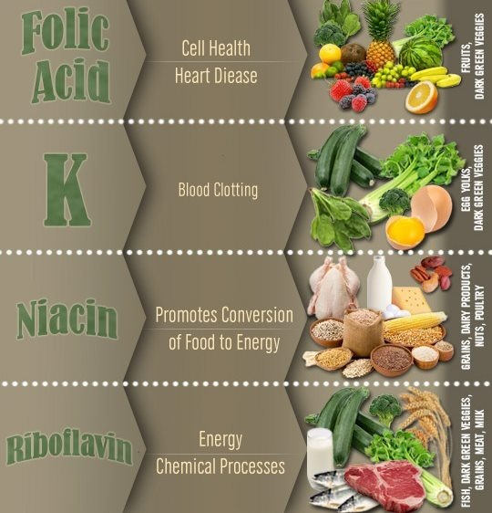 different types a veggies that contains Folic Acid