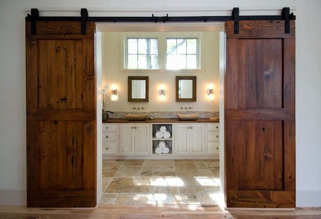 Rustic Master Bathroom with Vessel sink, High ceiling, Master bathroom, Wall sconce, Flat panel cabinets, slate tile floors