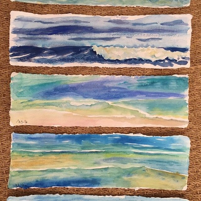 Watercolor sketches in anticipation of large painted paper collage project #watercolor #art #hawaii #ocean #creative #waves #sketches #painting