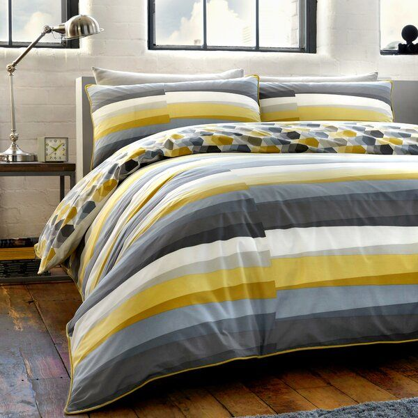 An Ultra Chic Modern Geometric Horizontal Striped Butte 180 Tc Duvet Cover Set With Current On Trend Grey Duvet Cover Sets Duvet Covers Super King Duvet Covers