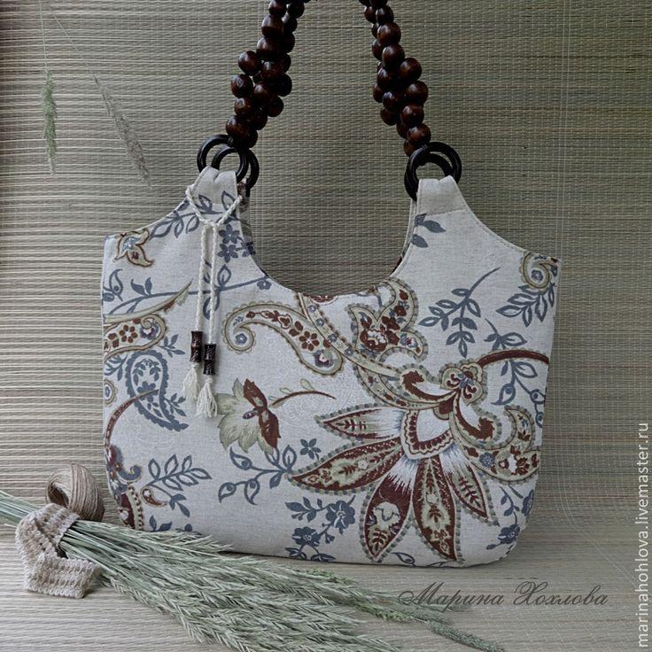 Купить Летняя льняная сумочка Полинушка - цветочный, ретро стиль, светлая сумка, льняная сумка