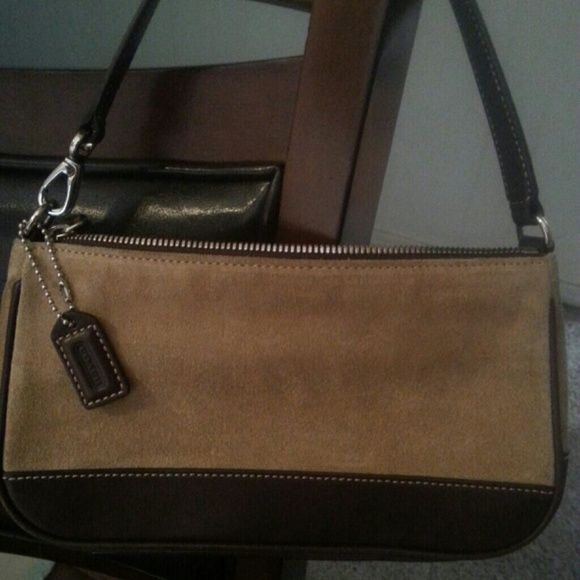 NWOT! Coach purse! Fall must have!! New!! Cute small coach purse! Light tan suede/ dark brown leather. Coach Bags Satchels