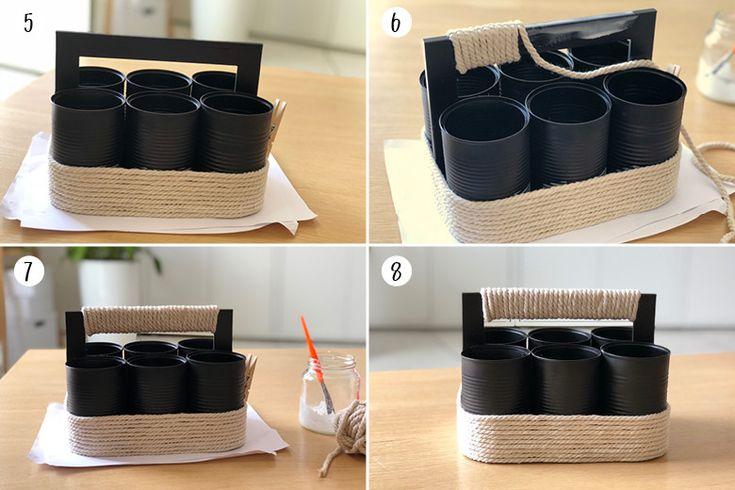 Une Boite A Outils Avec Des Boites De Conserve Diy Boite De Conserve Boites De Conserve Recyclees Boite De Conserve