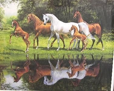 """Mary Haggard """"Reflections"""" 1990 Horses 583/2750, Limited Edition Signed Numbered #Realism"""