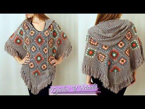 Crochet granny stripes hooded poncho / Paso a paso a crochet: poncho con capucha en granny stripes - YouTube