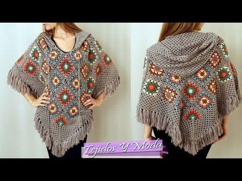 Crochet granny stripes hooded poncho / Paso a paso a crochet: poncho con capucha en granny stripes - YouTube