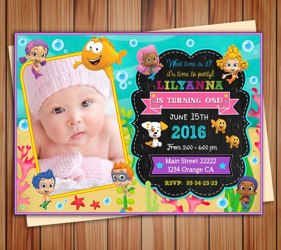 Bubble Guppies party photo invitation for by BeautifuldigitalMX