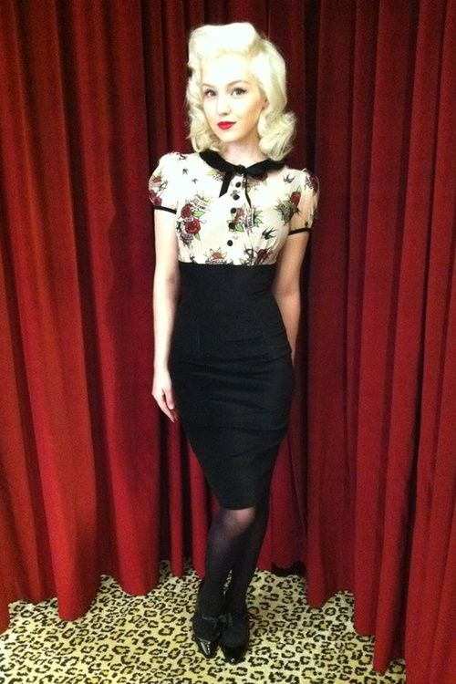 I want a more pinup look like this, love the high waisted skirt and cute top x