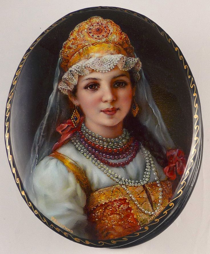 """Fedoskino Russian Lacquer Box Titled  """"Merchant's Daughter"""" Signed by Mikeev 