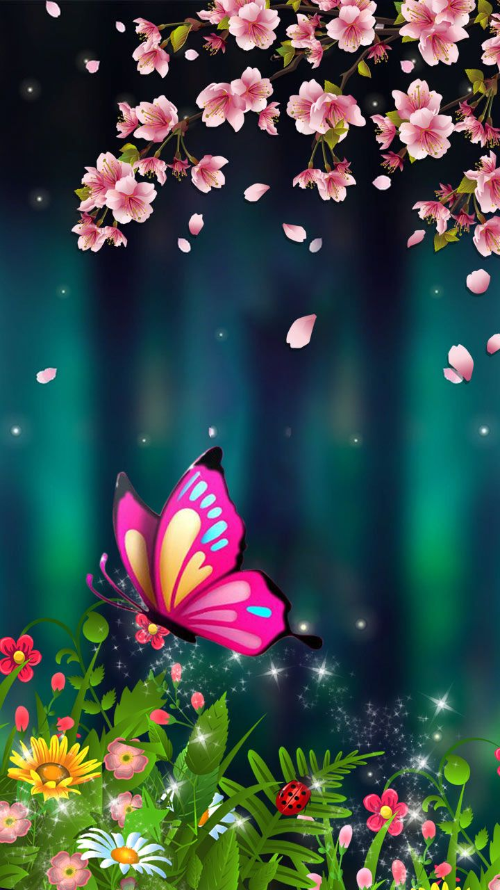 Cherry Blossom Wallpaper Art Of Neon Colors. Purple Pink Butterfly In A Cherry