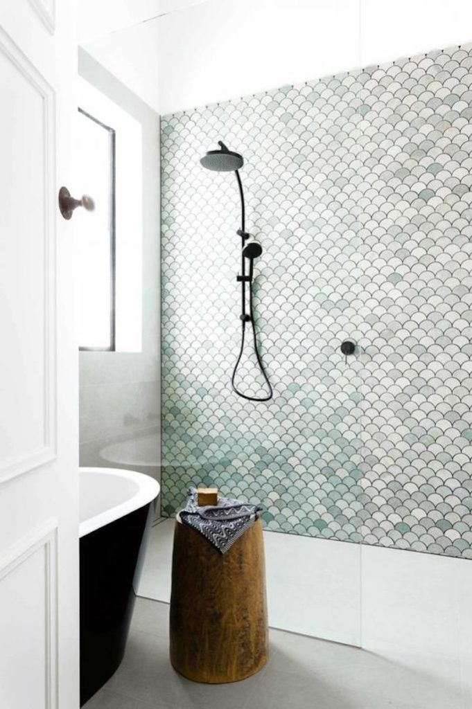 A tile statement wall is a great way to add colour and interest to a bathroom.