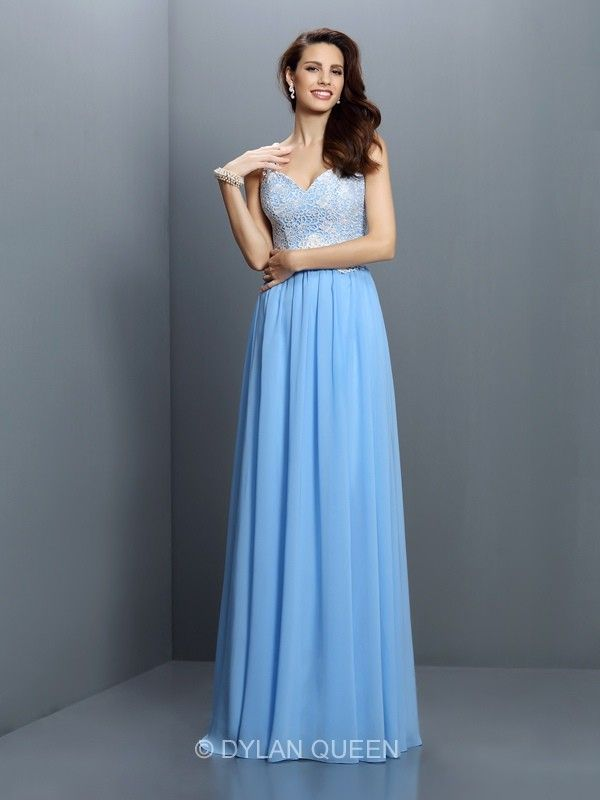 Light Blue Straps V-neck A-line/Princess Lace Sleeveless Chiffon Bridesmaid Dress @dylanqueen