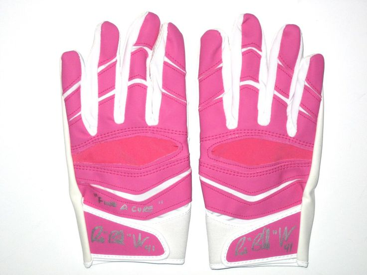 Bubba Ventrone San Francisco 49ers Game Issued & Signed Breast Cancer Awareness Pink & White Cutters Gloves (In Original Packaging)