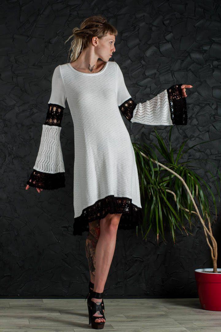 Crochet Wedding Dress white formal Dress Handmade mini Dress Crochet white Dress party lace Dress Crochet EVENING Dress long sleeve Dress by CrochetDressTalita on Etsy