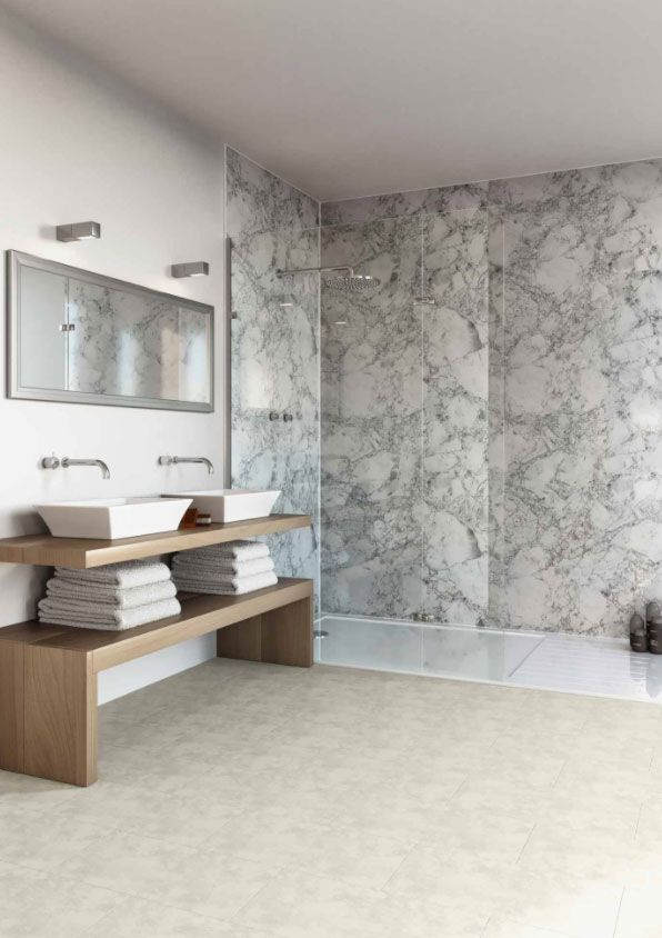 Inspired By Marble These Wall Panels Look Just As Good At A Fraction Of The Cost Bathroom Wall Panels White Wood Paneling Bathroom Wall