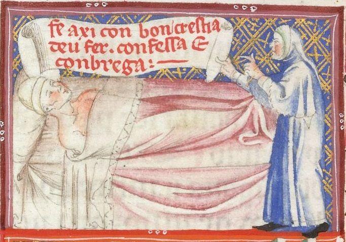 Yates Thompson 31 f. 110v Visiting the sick