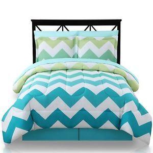 New 8 Piece Queen Ombre Teal Turquoise Aqua Comforter Chevron Stripe Blue Green | eBay