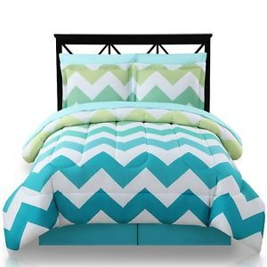 New 8 Piece Queen Ombre Teal Turquoise Aqua Comforter Chevron Stripe Blue Green | eBay
