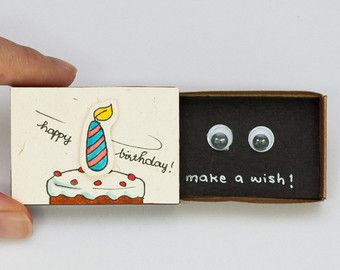 Birthday Card Matchbox/ Cute Birthday Card/ Greeting by shop3xu