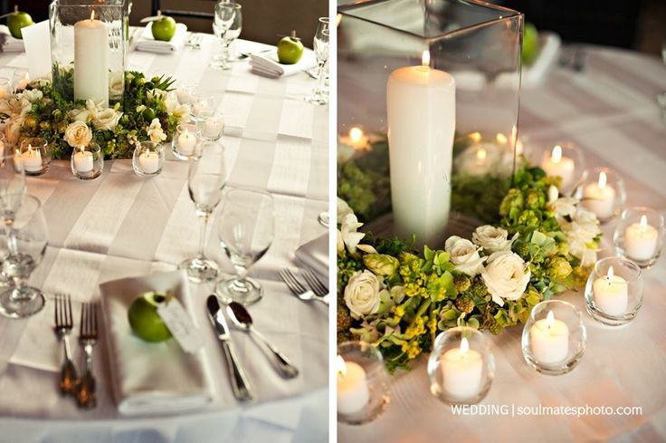 Green centerpiece a ring of and white flowers