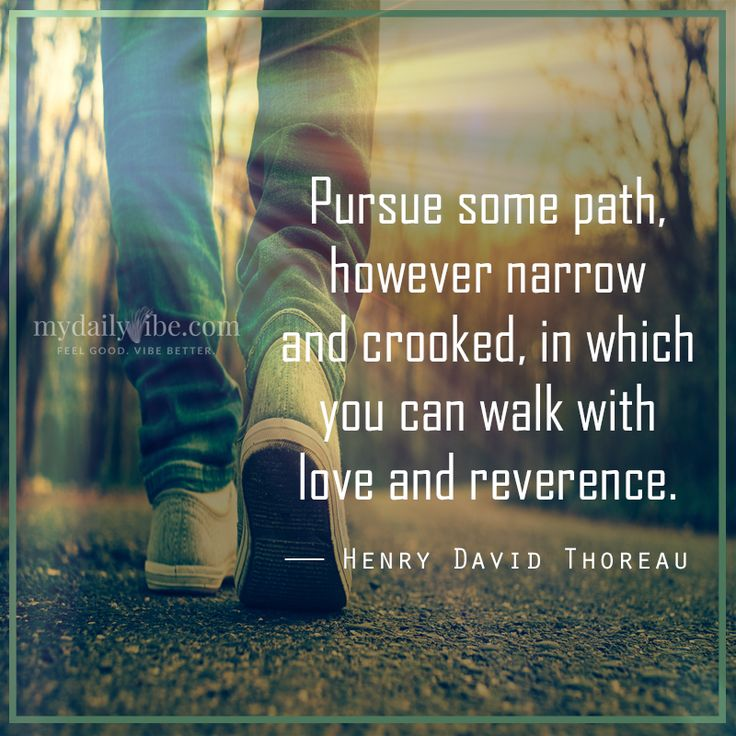 Pursue some path, however narrow and crooked, in which you can walk with love and reverence - Henry David Thoreau