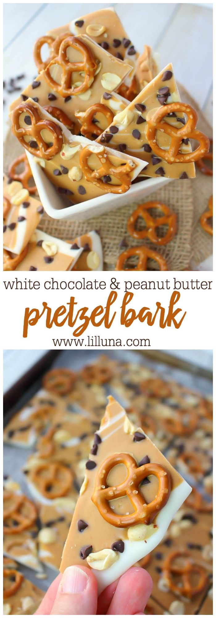 The ultimate salty sweet treat! This White Chocolate Peanut Butter Pretzel Bark is super simple to make and just requires a few basic steps. Pretzels, peanuts, and mini-chocolate chips are the perfect topping for candy! Fantastic for all of your holiday cookie & candy trays, too!