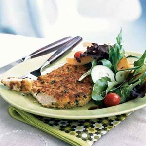 Easy Schnitzel | MyRecipes.com - Maureen Clancy, the author of this story, developed an easier and lighter version of Wiener schnitzel after her two college-aged sons discovered the dish on a trip abroad. Serve with a tossed salad of mixed greens, cherry tomatoes, sliced cucumber, and onion.